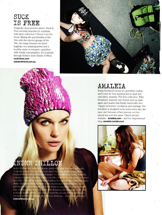 Inder Dhillon in The Label To Watch section in the Summer 2013 issue of Catalogue Magazine