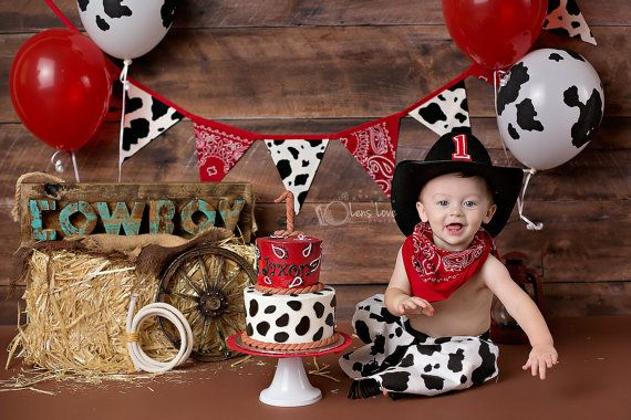 Red bandana and cow print fabric pennant banner by GiddyGumdrops