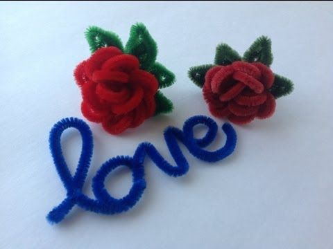 ROSAS HECHAS CON LIMPIA PIPAS. PIPE CLEANER RED ROSES . - YouTube