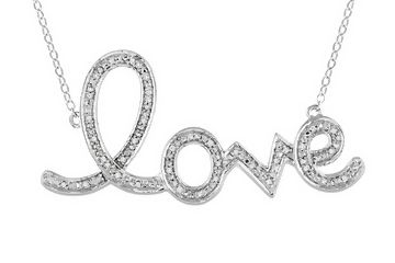 """1/10 Carat Diamond and Sterling Silver """"Love"""" Necklace - NDY_122278"""
