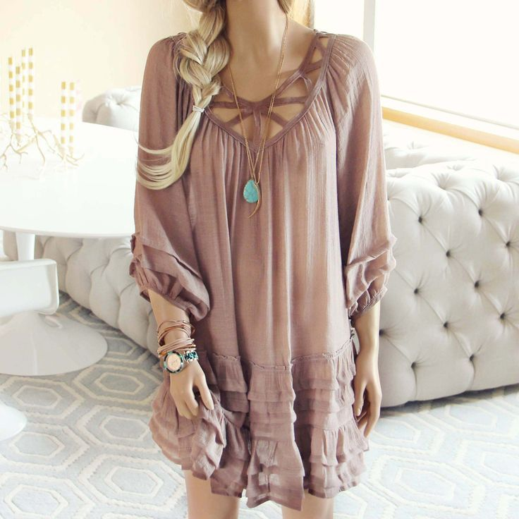 Festival Dress in Sand... a gorgeous boho dress for the spring & summer.