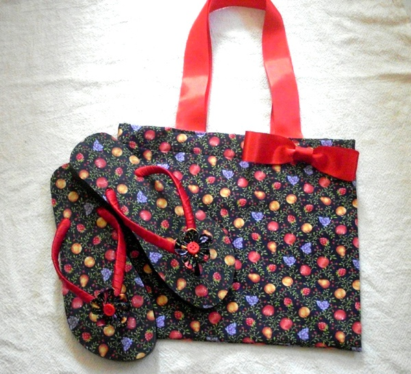 Bolsa De Tecido Forrada : Conjunto de bolsa e chinelo forrado com tecido