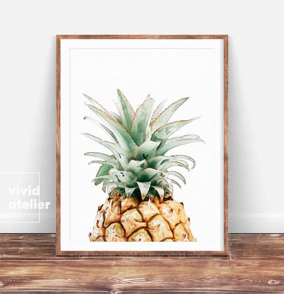 Pineapple Print Wall Art, Printable Pineapple, Kitchen Decor, Watercolor Pineapple, Tropical Print, Pineapple Poster, Best Selling Items