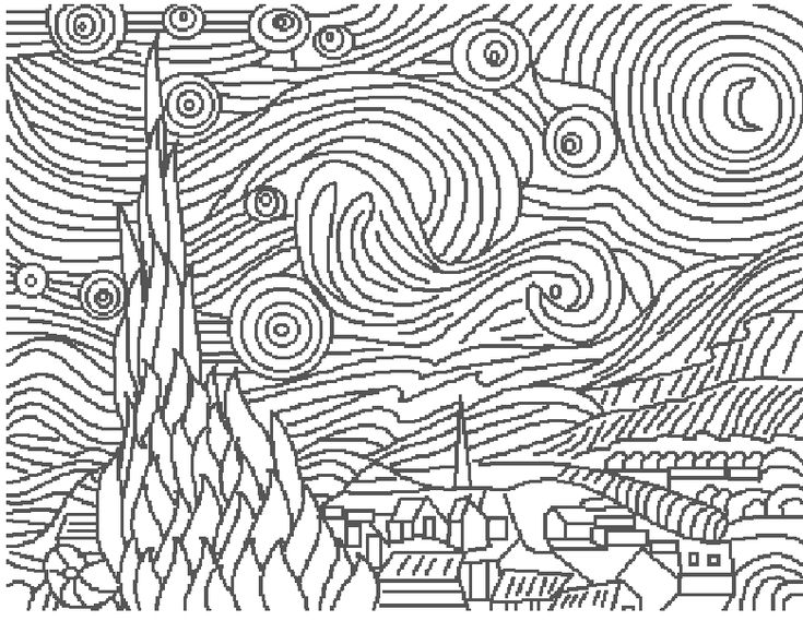Great Art Coloring Pages - Vincent Van Gogh - Starry ...