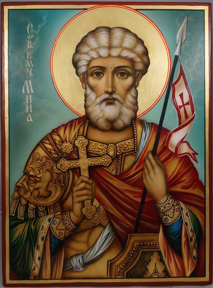 Martyr Menas of Egypt Large Hand-Painted Orthodox Icon
