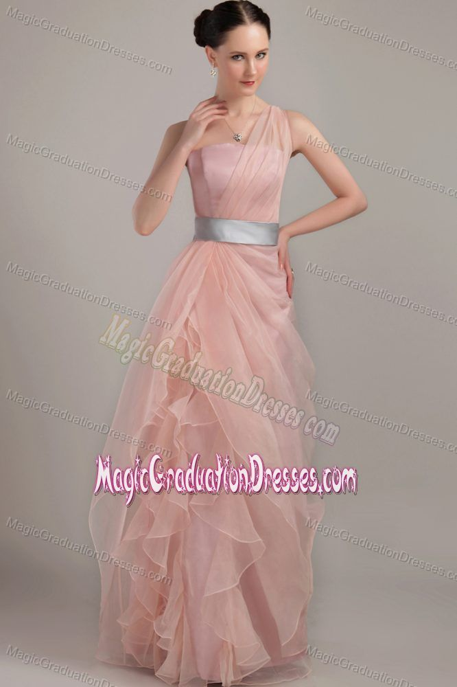 Lace-up One Shoulder Light Pink Long Graduation Dress in Pell City USA