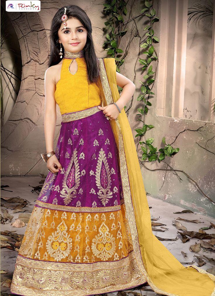 Wedding wear exclusive kids wear with heavy embroidery lehenga