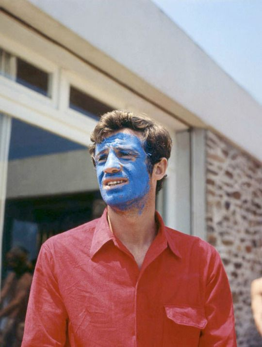 Jean-Paul Belmondo in Pierrot le Fou by Jean-Luc Godard, 1965 •