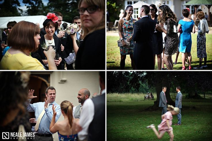 Wedding guests enjoy the beautiful gardens at Silchester House, Berkshire