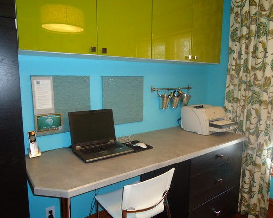 Contemporary Home Office With Gray Ikea Office Desk With Dark Brown Drawers  Also Green Modern