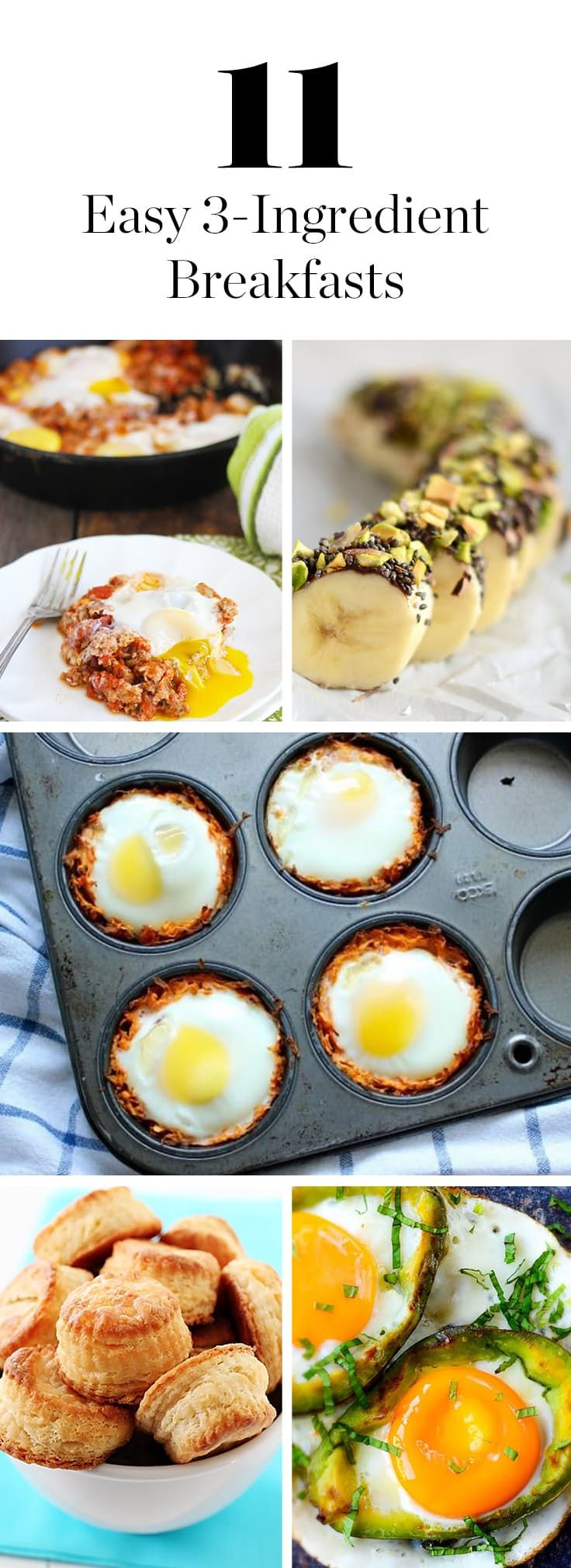11 Easy 3-Ingredient Breakfasts You Can Whip Up in No Time via @PureWow