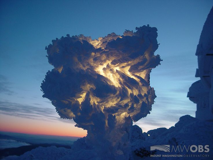 Seen here is a snow light at the summit of Mount Washington covered in a wavy pattern of rime ice. The photo was taken at sunrise and shows the incredible patterns the icy winds are capable of creating. Mount Washington is the highest peak in the Northeastern United States at 6,288 ft.
