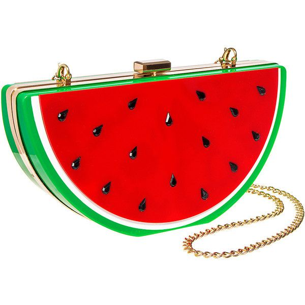 Blue Banana Watermelon Box Clutch Bag (Multicoloured) ($26) ❤ liked on Polyvore featuring bags, handbags, clutches, blue handbags, multi color handbag, hardcase clutch, blue clutches and blue purse