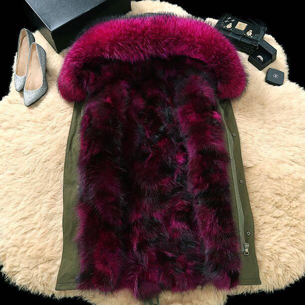 2016 Kadınlar için% 100 Gerçek Kürk Katmanları Kürk Liner Kalın Sıcak Kadınlar Kışlık Ceket Kadın Kapşonlu Kılıf İnce Ordu Yeşil Coat Çıkarılabilir