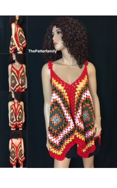 How to Crochet Granny Square Blouse / Top Pattern #26│by ThePatterfamily