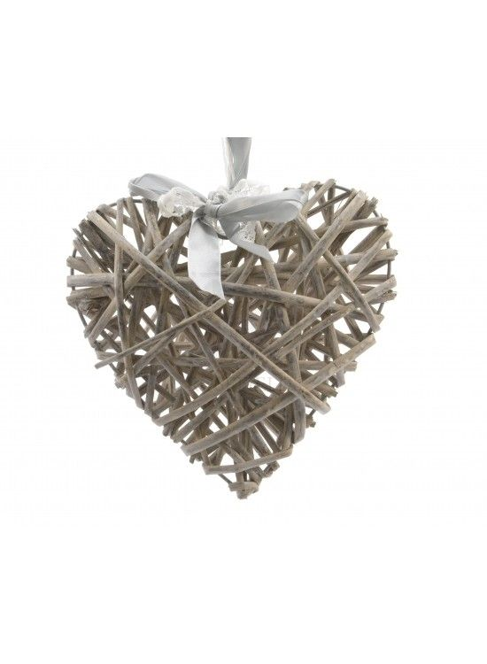Grey Willow Heart Hanger w Ribbon 10cm @ rosefields.co.uk chic_boutique_homeware £1.99