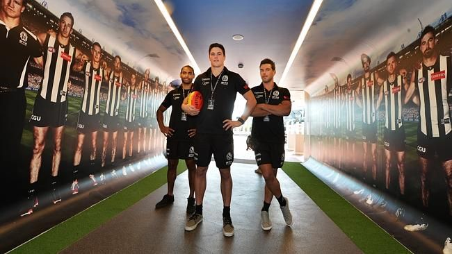 The Pies have welcomed, from left, Travis Varcoe, Jack Crisp and Levi Greenwood.