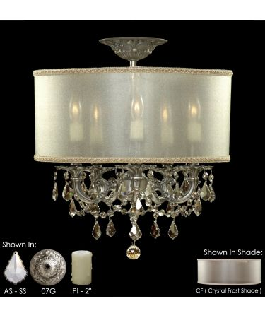 american brass and crystal fm6501 llydia 16 inch semi flush mount kitchen light fixture - Kchenbeleuchtung Layout