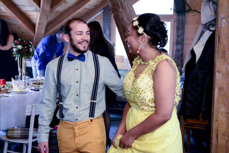 Gilselle brasileira e o Screten sérvio. Eles se conheceram quando ela fazia um intercâmbio na Nova Zelândia, namoraram e então realizaram o casamento.