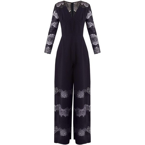Huishan Zhang Faye lace-panelled crepe jumpsuit ($1,496) ❤ liked on Polyvore featuring jumpsuits, navy, huishan zhang, purple jumpsuit, sleeve jumpsuit, crepe jumpsuit and navy wide leg jumpsuit
