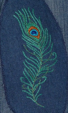 peacock feather embroidered jean patch