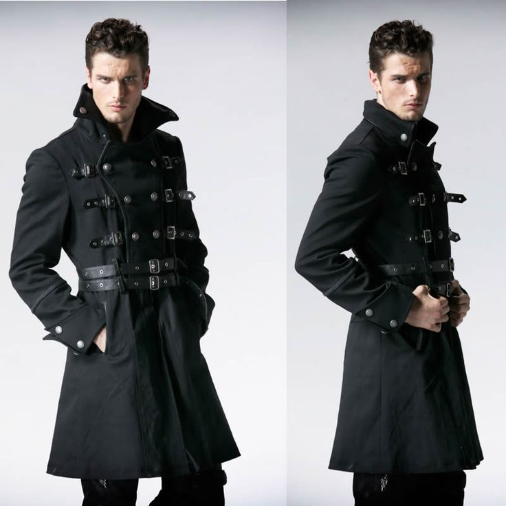 Men Black Double Breasted Belted Military Goth Fashion Trench Coat SKU-11401708