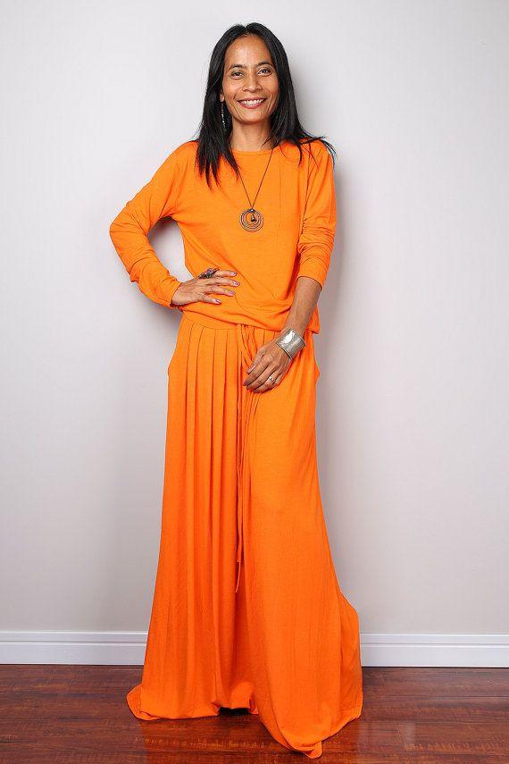 Orange Maxi Dress   Long Sleeve Bright Orange Maxi by Nuichan
