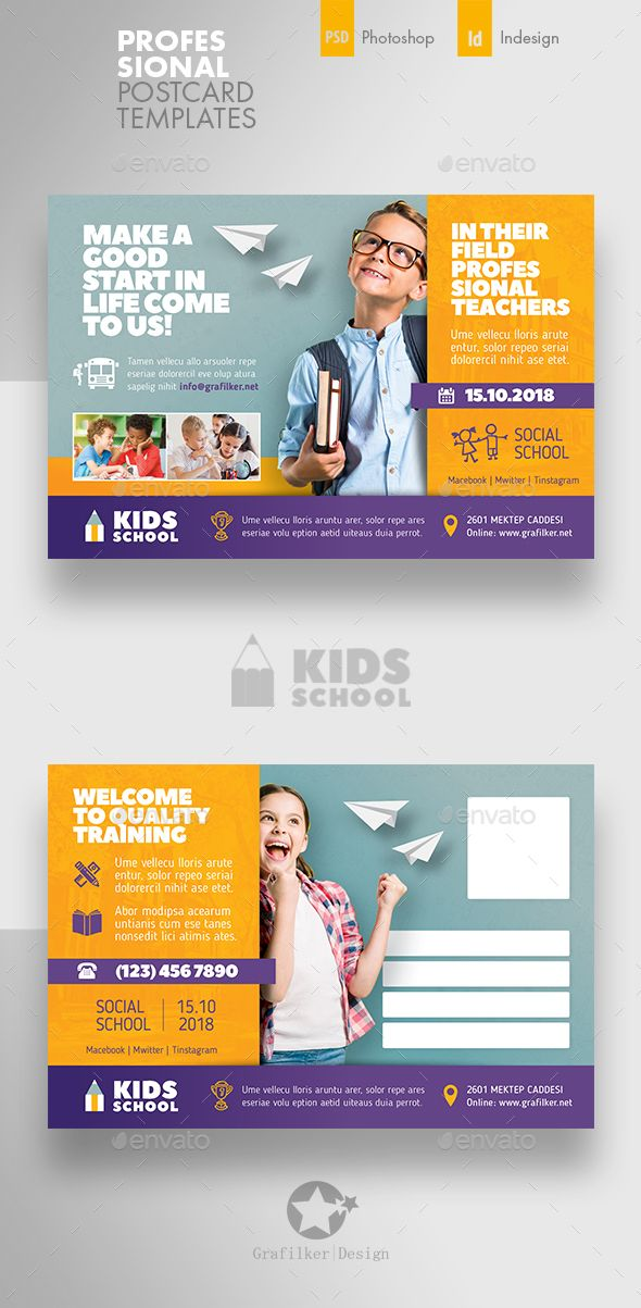 kids school postcard templates psd indesign indd fully layered