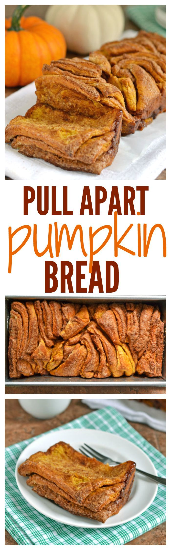 Pumpkin Pull Apart Bread. Every gooey bite is dripping with cinnamon sugar. A must bake for fall and holiday breakfast! Tastes like a pumpkin cinnamon roll, but even better.