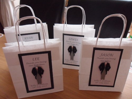 5 X PERSONALISED BEST MAN USHER GIFT BAGS PARENTS WEDDING PAGE BOY FATHER GROOM