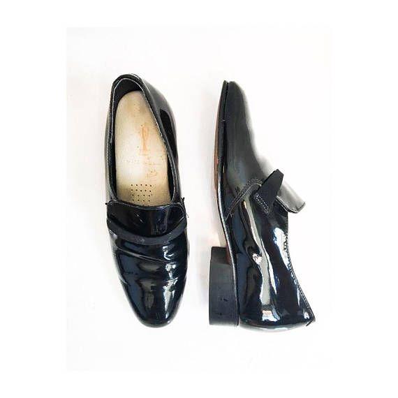 Mens Vintage Tuxedo Shoes // 60s 70s Mens Mod Platform Dress