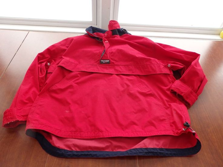 Chaps Ralph Lauren Red Windbreaker Jacket Men's L Half Zip Snap #Chaps #Windbreaker
