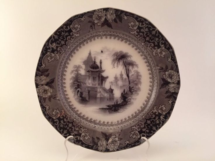 ANTIQUE FLOW BLACK MULBERRY PLATE J. CLEMENTSON COREA - 1839-1864 | Antiques, Decorative Arts, Ceramics & Porcelain | eBay!