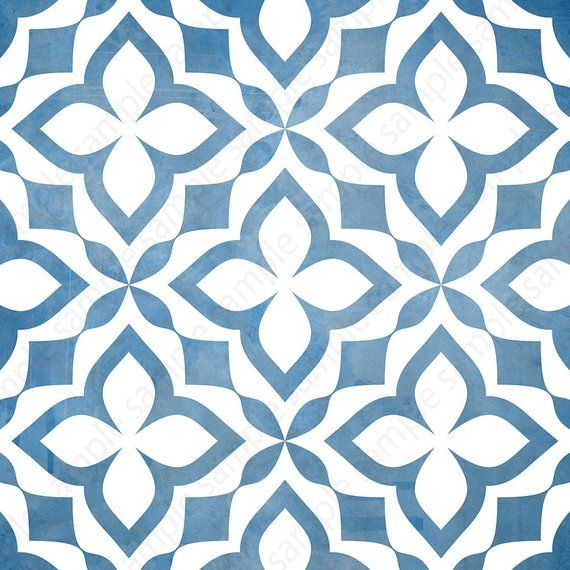 Digital tiles Blue and white ornate wall decor printable | Etsy
