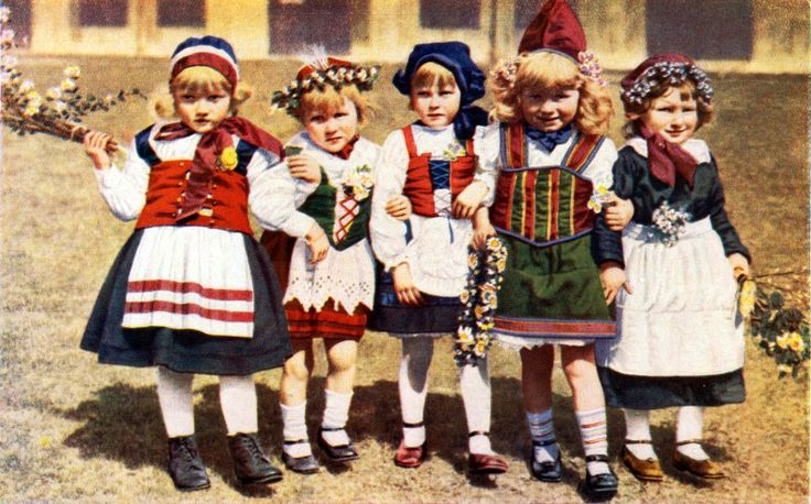Little Girls in National Dress, Denmark c1936