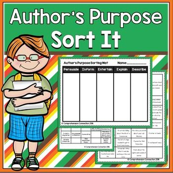 This activity can be printed and used to reinforce students' understanding of author's purpose. Directions are included in the file for printing and usage. This activity is perfect for small group guided reading, as a center, in cooperative groups, or for independent practice.