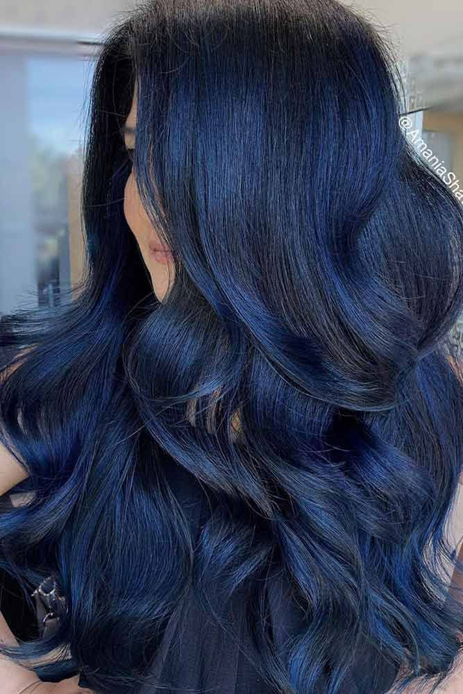 Layered Blue Black Hairstyle In 2020 Hair Color For Black Hair Blue Black Hair Color Black Hair Dye