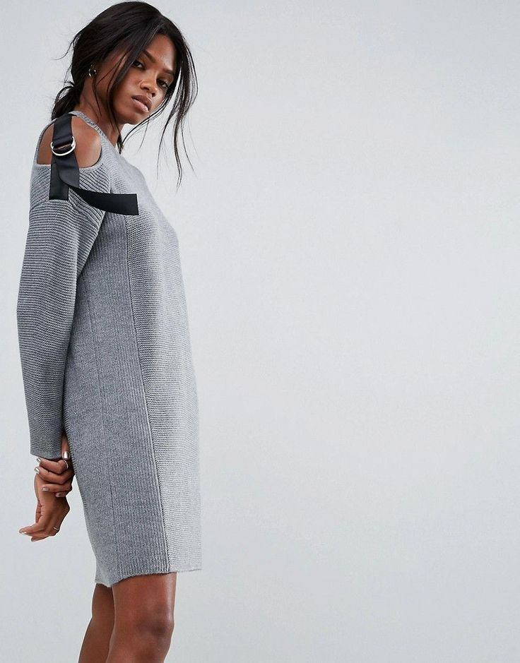 ASOS Knitted Dress with Strap Shoulder Tie Detail - Gray