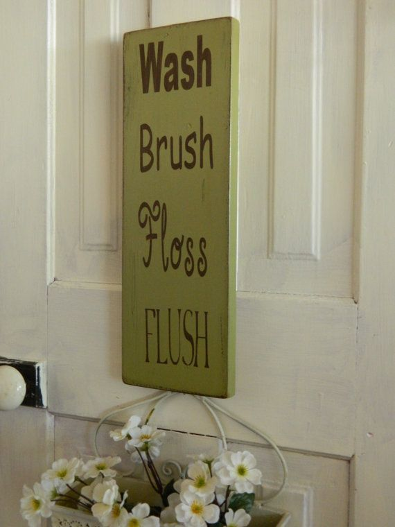 Bathroom sign Shabby chic primitive by CountryFolksCreation. 125 best Bathroom Signs Patterns etc images on Pinterest