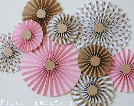 Pink and Brown Paper Rosettes Paper Fans by PicketFenceArts