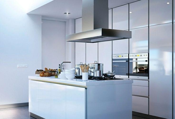 cocina blanca armario suelo techo isla ideas