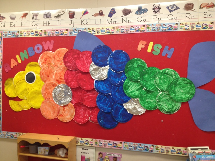 Rainbow fish inspired art: paper plates, paint, tinfoil.