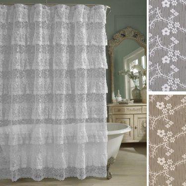 Bridal Lace Ruffled Shower Curtain $30