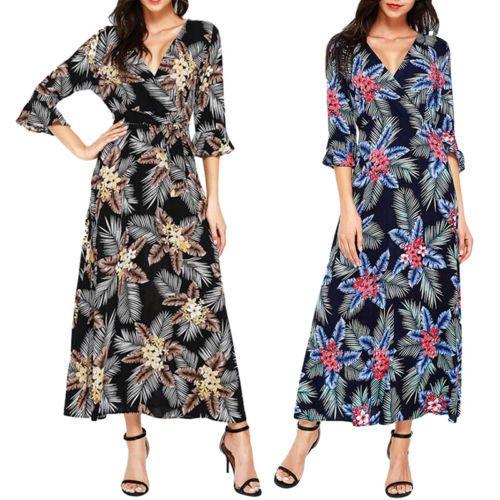 Womens-Long-Sleeves-Floral-Printed-Deep-V-Neck-Maxi-Dresses-Summer-Beach-Dress