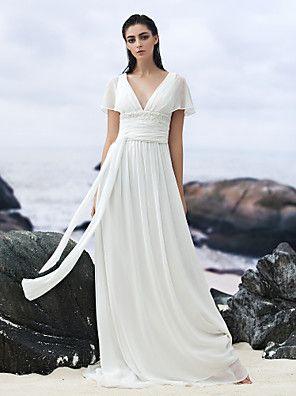 Lanting Bride® Trapèze Robe de Mariage  Traîne Tribunal Col en V Georgette avec