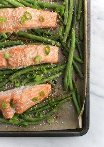 Sheet Pan Miso Salmon and Green Beans