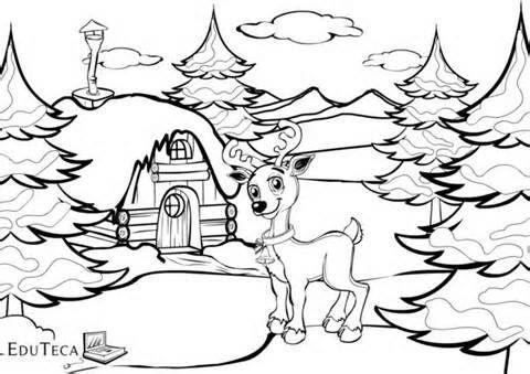 Iarna Eduteca Plansa Colorat Pentru Copii Botosel Casuta
