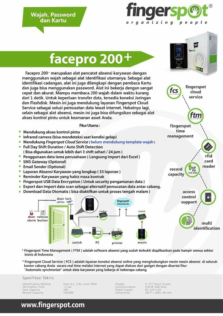 Mesin absensi dan kunci pintu wajah kartu pasword fingerspot seri facepro 200+