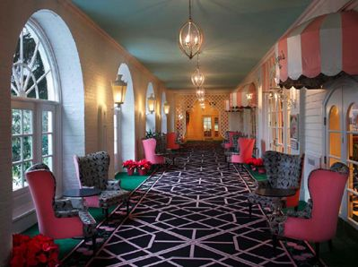 The Greenbrier Hotel--note the bright pink chair exteriors and the black print on the seat and interior.