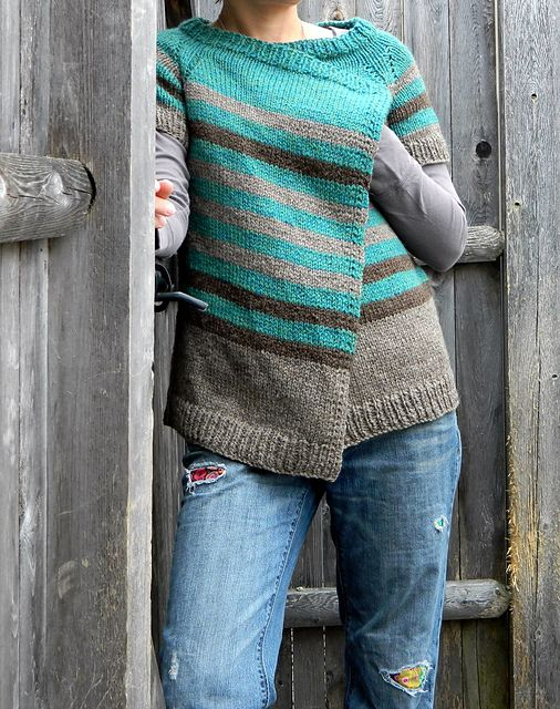 Ravelry: bluedogwoolies' Caramel. wrap cardigan I just found my first sweater knitting project